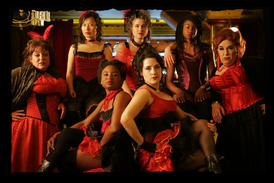 Ady Abbot, Xiao Xiao, Dawn Meredith Smith, Candace Roberts, Jill Vice, Iris Smith and Trauma Flintstone (aka Joe Wicht) in _Not My City Anymore_ - Video Still by Damian Lucas